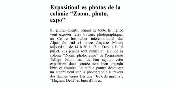 article le dauphiné zoom photo expo